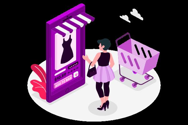 chica comprando por una tiendas online / E-commerce