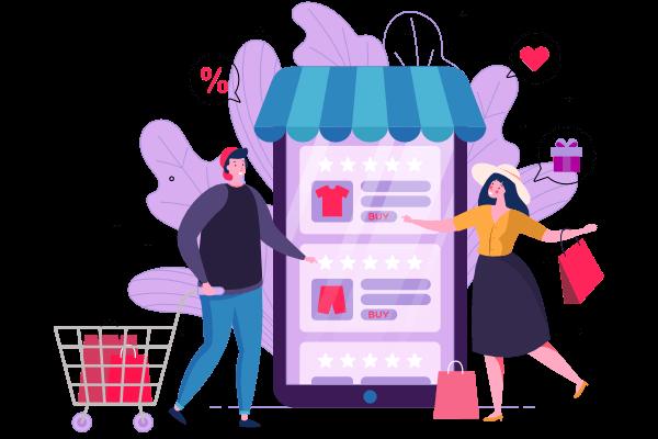 Desarrollo tiendas online / E-commerce chica y chico de compras